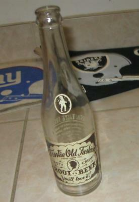 EARLY VINTAGE FROSTIE OLD FASHION CREAMY ROOT BEER GLASS SODA BOTTLE w LABEL