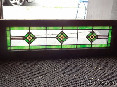"1 of 2 Antique 1920's Stained Leaded Glass Transom Window 40"" x 13"""