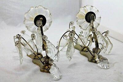 "LATE 19THc. FRENCH BRONZE/ CRYSTAL ""LOUIS XV style"" PAIR SCONCES"