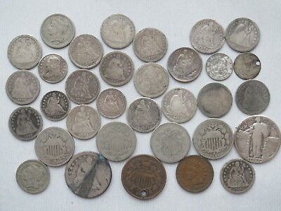 Mixed Lot of Type Coins Dimes Seated 3 cent nickel Shield Half Dimes 2 Cent