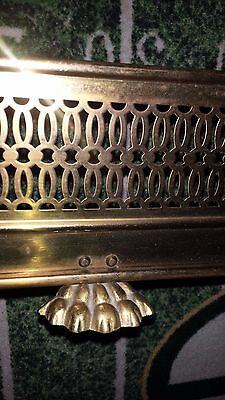 """Vintage Ornate Fireplace Hearth Fender Brass Claw Foot 48"""" Long Beautiful"""