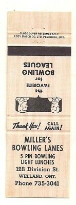 Miller's Bowling Lanes 128 Division St. Welland ON Ontario 5 Pin Bowl Matchcover