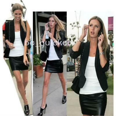 Sexy Women High Waisted Bodycon Faux Leather Casual Look Zip Short Mini Skirt S