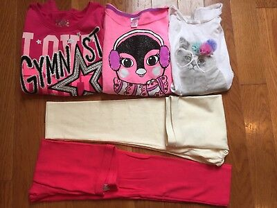 Girls Fall Winter Clothes Lot Of 5 Top, Sweatshirts, New Leggings Size 7/8 & 8