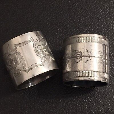 Lot of 2 Antique Silverplate Napkin Rings