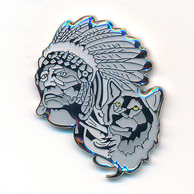 Indianer mit Wolf - Native American Badge USA Metall Button Pin Anstecker 0835