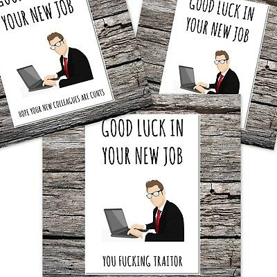 rude funny leaving work card for man good luck in your new job - 3 designs
