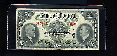 1935 , 5 Dollars, The Bank of Montreal VF BL1189