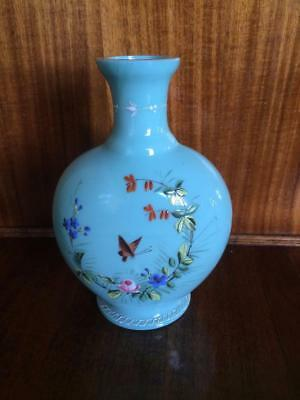 Antique Victorian Aqua Blue Glass Display Vase Hand Painted Floral & Butterfly