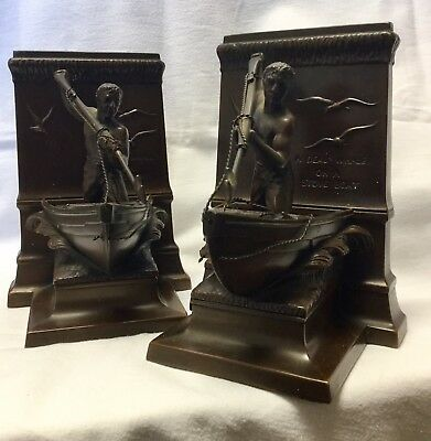Jennings Bros Mfg Co Bronzed Whaling Bookends New Bedford JB 3139