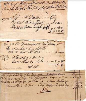18th Century document grouping,Colonial America, shipping, newsletters, nice