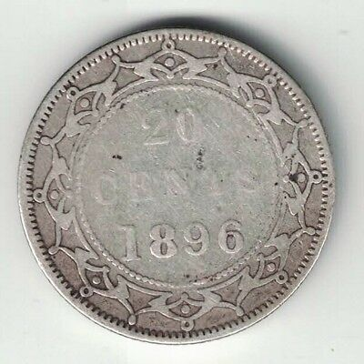 Newfoundland 1896 Small 96 20 Cents Queen Victoria Sterling Silver Canadian Coin