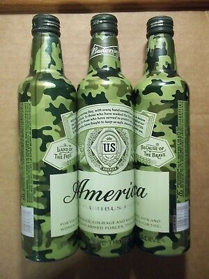 16 oz.  Budweiser AMERICA  Camouflage Aluminum Bottle - Armed Forces - 503011