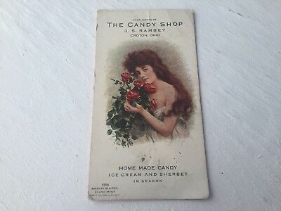 Vintage Ink Blotter c1890 Croton Ohio Rambey Candy Shop Newark Johnstown OH c