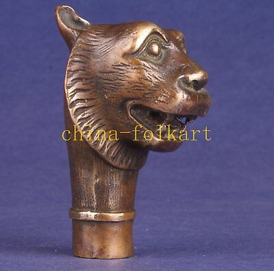 Superb Bronze Tiger Cane Walking Stick Head Animal Statue Collectable