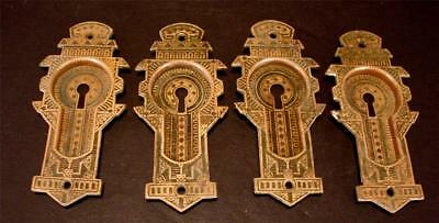 4 Solid Brass Door Key Eastlake Victorian Back Plates