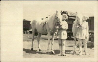 Circus Act Women in Costume w/ Horses - Twins? c1920 Real Photo Postcard jrf