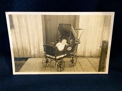 RPPC Baby in Antique Large Wheel Baby Carriage Real Photo Postcard