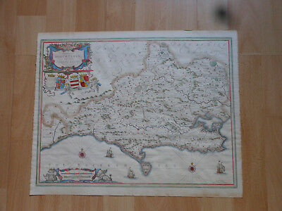 Antique Victorian Hand Coloured Map Of Dorset Jan Jansson 1633