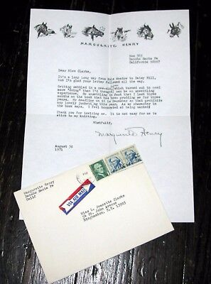 Personal 1971 Letter Signed / Autographed by MARGUERITE HENRY Misty Novelist