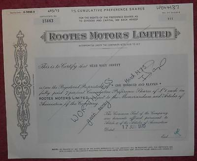 30916 GB 1970 Rootes Motors Preference shares certificate