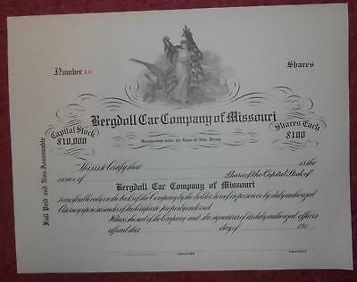 30918 USA 191-  Unissued Bergdoll Car Company of Missouri share certificate