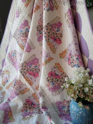 "The Prettiest VINTAGE 30s Lavender + Feedsacks FAN QUILT 78"" x 69"""