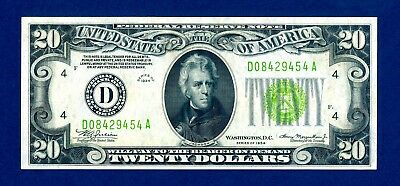 1934 $20 LIME GREEN SEAL FEDERAL RESERVE NOTE  Fr.2054-D- LGS   CRISPY AU NICE