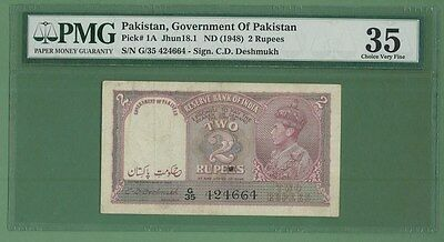 Pakistan Ovpt India P-2 1947 King George Pmg 35 Rare!!!!