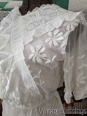 Stunning Antique Edwardian Lace Tulle Tea or Wedding Dress Lavish Embroidery