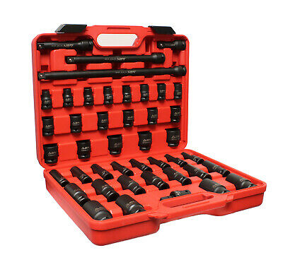"""ABN 1/2"""" Inch Drive Impact Socket Set with Extensions & Swivel Joint Adapter"""