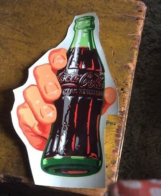 """Coca Cola Hand Holding Bottle Water Decal New Old Stock 14"""" Approx"""