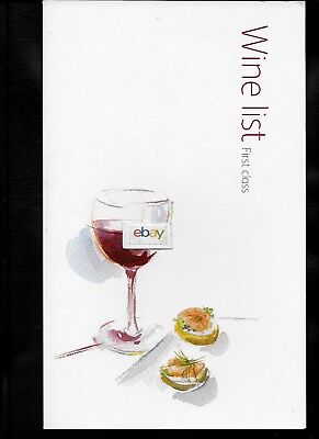 Cathay Pacific Airways First Class Menu & Wines Watercolor David Holmes