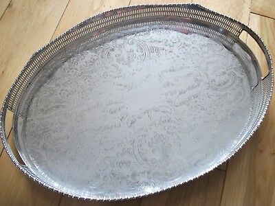 """Beautiful Sheffield Silver Plate Chased Pierced Gallery Handled Waved Tray 18"""""""