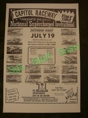 Old drag racing Capitol Raceway National Supercharged invitational poster 1975