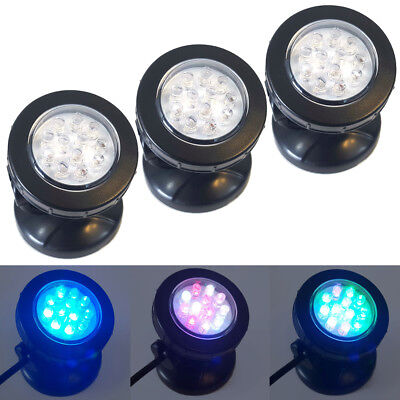 Pond Lights Set of 3 Fully Submersible LED Lighting 1.5w Garden Lights 3 Colours
