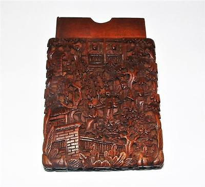 Antique Chinese Export Sandalwood Card Case Carved Wood Canton Village Part Case