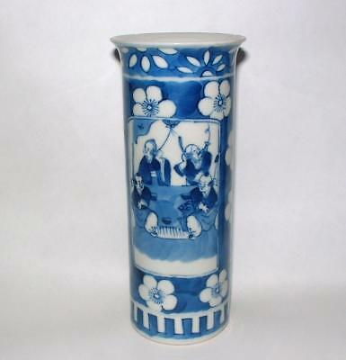 Antique Chinese Porcelain Vase Blue And White Sleeve Kangxi Prunus Figures 6""