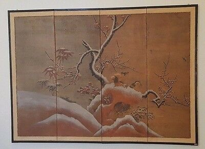 "Japanese antique silk 4 panel painting ""Plum in Snow"" Kano School, Japan 67 x 49"
