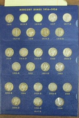 Mercury Dime Set Strong Eye Appeal Only Lacks 16-D & 16-S in Whitman Album - AA