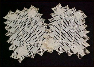 2 Vintage Antique Doily Hand Crocheted Woven Table Topper Scarf Cloth Doilies