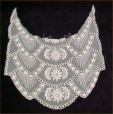 Vintage Antique Collar Tambour Net Lace FANCY Victorian Era Ecru Creamy White