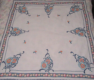 Vintage tablecloth hand embroidered white linen mix vivid colours floral 112 cms