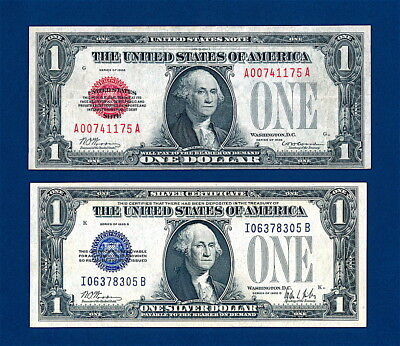 1928 $1 Red Seal Legal Tender & 1928 B $1 Silver Certificate  Aka. Funny Backs !
