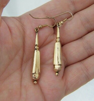 "A Pair Of  Antique C19th Victorian Yellow Gold or Pinchbeck ""Dropper"" Earrings."