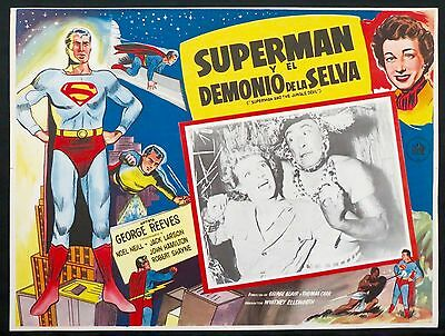 SUPERMAN AND THE JUNGLE DEVIL 1954 VINTAGE George Reeves LOBBY CARD NEAR MINT