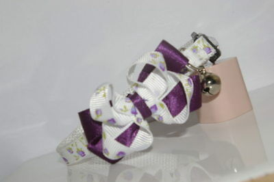 Pretty Lilac & Purple Bow  Adjustable Quick Release Cat Collar
