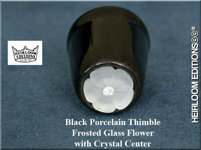 Frosted Glass & Crystal Top Thimble
