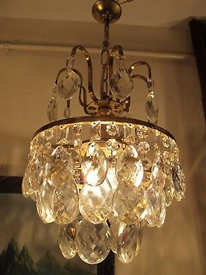 Antique Vnt.French Basket Style Crystal Chandelier Lamp Light 1940's.9 in RARE