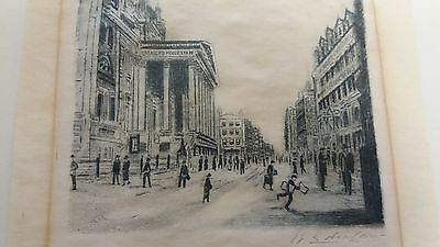 Etching of Manchester Royal Exchange & Cross Street Early 20th Century